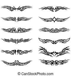 tatuaggi, tribale, set