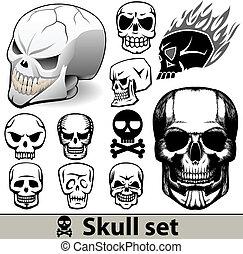 tatuaggi, vettore, set, cranio
