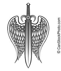 tatuaggio, ali, spada