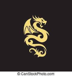 tatuaggio, art tribale, drago