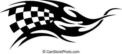 tatuaggio, bandiera, checkered