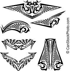 tatuaggio, bandiera, corsa