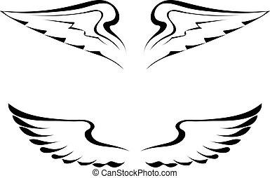 tatuaggio, bianco, nero, ali, fondo