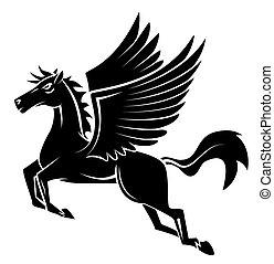 tatuaggio, cavallo, ala
