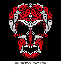 tatuaggio, cranio, ornare