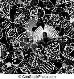 tatuaggio, diamante, cranio, cuore, rosa, corona, seamless, cross., arrow., dollar., knuckles., ottone, pattern., ali