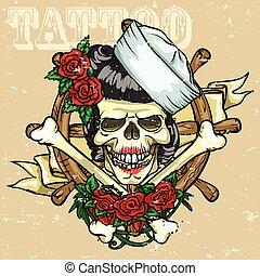tatuaggio, disegno, cranio