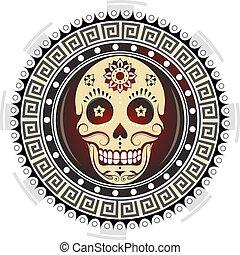 tatuaggio, disegno, cranio, zucchero