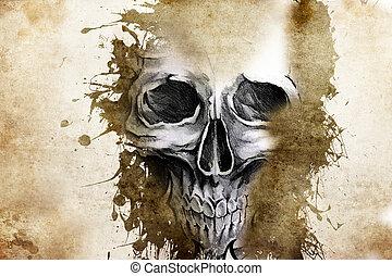 tatuaggio, disegno, male, cranio