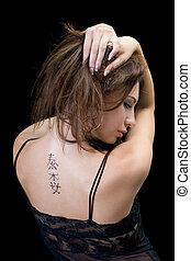 tatuaggio, donna indietro, giovane