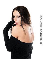 tatuaggio, donna indietro, lei