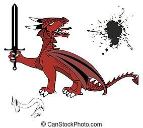 tatuaggio, drago, medievale, set3