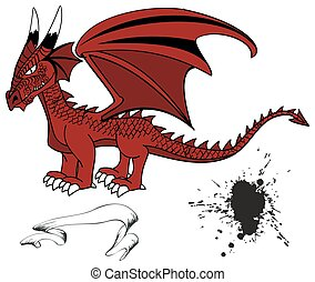 tatuaggio, drago, set1, medievale