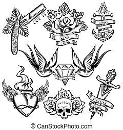 tatuaggio, elementi, set, monocromatico
