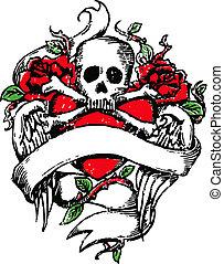 tatuaggio, emblema, cranio, roccia