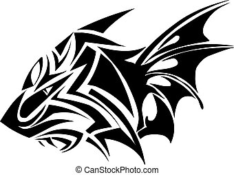 tatuaggio, engraving., disegno, tiger, vendemmia