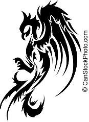 tatuaggio, engraving., disegno, vendemmia, phoenix