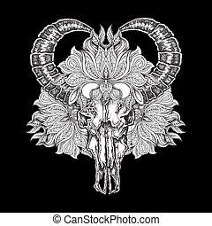 tatuaggio, flower., cranio, lavoro, illustrazione, mano, vettore, nero, disegnato, mandala, bufalo, puntino