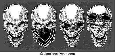 tatuaggio, illustration., cranio, vendemmia, isolato,...