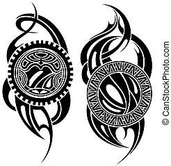 tatuaggio, maori, disegnato