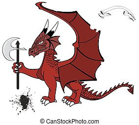 tatuaggio, medievale, drago