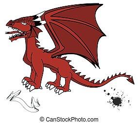 tatuaggio, medievale, set2, drago