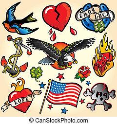 tatuaggio, retro, icone