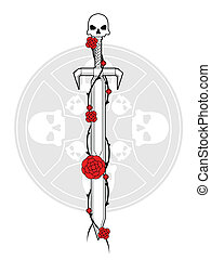 tatuaggio, rose, spada