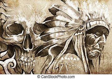 tatuaggio, schizzo, di, indiano americano, tribale, capo, guerriero, con, cranio
