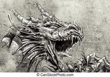 tatuaggio, schizzo, medievale, drago, rabbia, arte