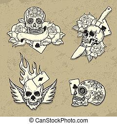 tatuaggio, scuola, set, vecchio, elementi