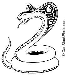 tatuaggio, serpente, vettore, tribale