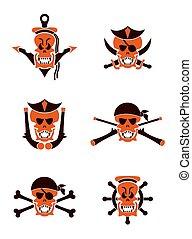 tatuaggio, set, cranio, tribale, vettore, mare