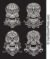 tatuaggio, set, morto, cranio, giorno
