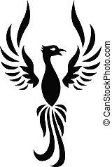 tatuaggio, silhouette, phoenix