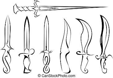 tatuaggio, silhouette, set, coltello