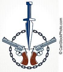 tatuaggio, stile, gangster, anarchia, sociale, altro, rivoluzione, criminale, emblema, coltello, concetto, vettore, armi, guerra, tensione, caos, theme., pugnale