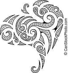 tatuaggio, stile, maori, arte, tribale