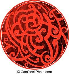 tatuaggio, stile, maori, cerchio