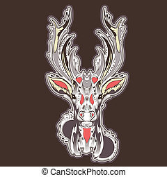 tatuaggio, testa, cervo, disegno