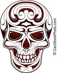 tatuaggio, testa, cranio