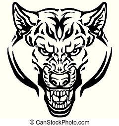tatuaggio, testa, lupo