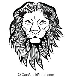 tatuaggio, testa, t-shirt., schizzo, illustrazione, leone, vettore, animale, design.