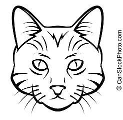 tatuaggio, testa, vettore, illustrazione, gatto