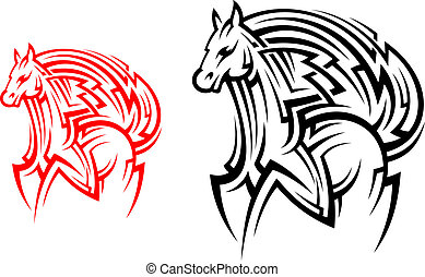 tatuaggio, tribale, cavallo