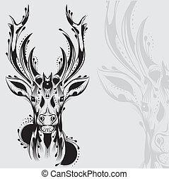 tatuaggio, tribale, cervo, testa