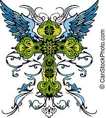 tatuaggio, tribale, croce, classico