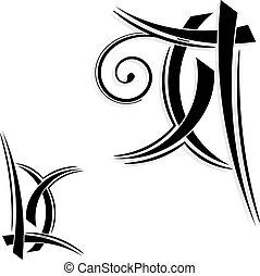 tatuaggio, tribale, disegno