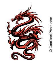 tatuaggio, tribale, drago