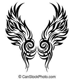 tatuaggio, tribale, fiammeggiante, ali